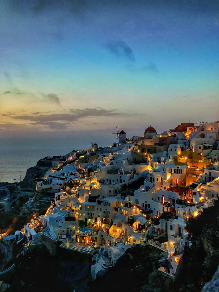 Santorini during sunset. in Greece.